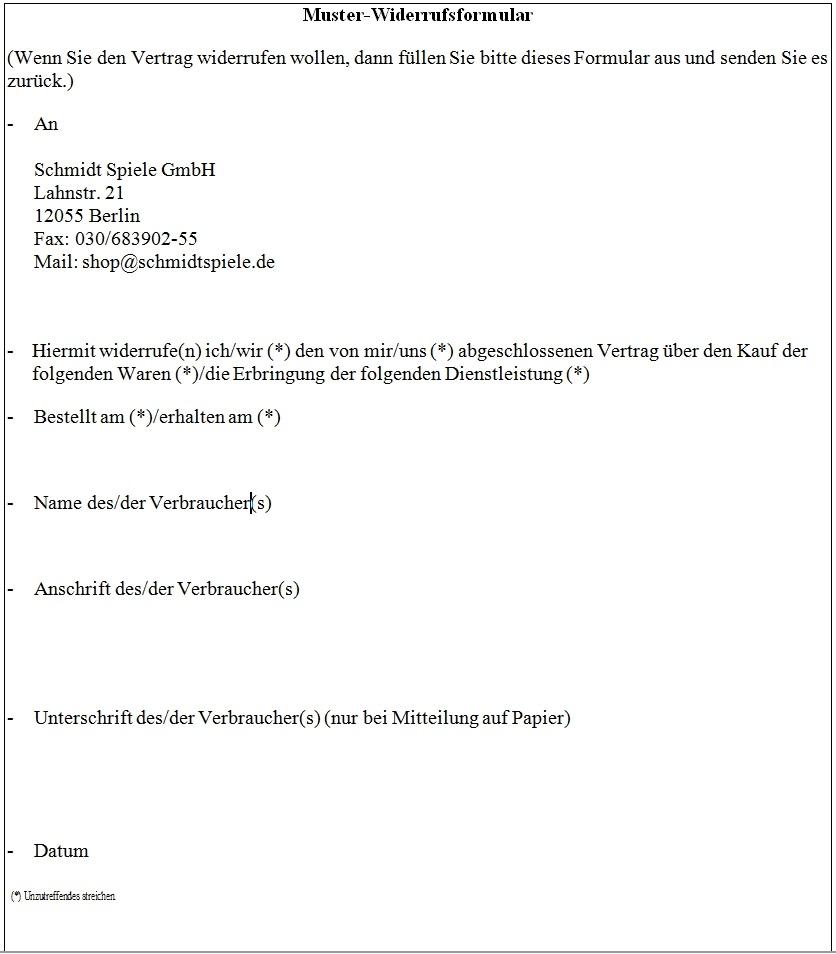 Rucksendungen Widerruf Schmidt Spiele Shop
