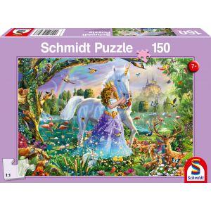 Prinzessin mit Einhorn und Schloss