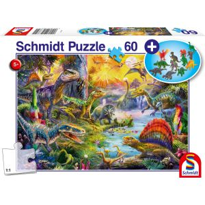 Kinderpuzzle mit add on, Motiv: Dinosaurier + Dinosaurier-Figuren-Set