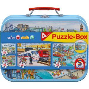Verkehrsmittel: Puzzle-Box im Metallkoffer