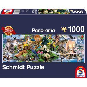 Panorama Puzzle: Kunterbunte Tierwelt