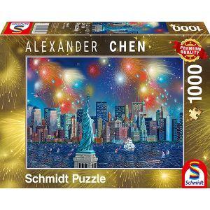 Alexander Chen, Freiheitsstatue mit Feuerwerk